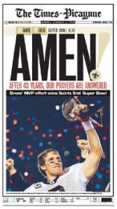 Times Picayune Super Bowl Headline
